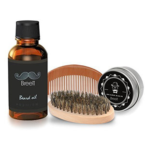 stile baffi: kit breet con olio, balsamo, pettine e spazzola da barba